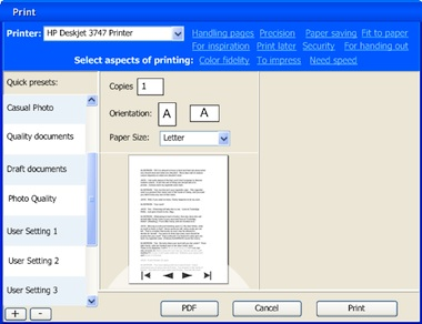 printing dialog in default appearance