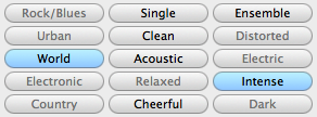 a section of Garageband selection buttons