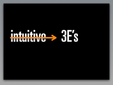 forget intuitive, go for the 3E's