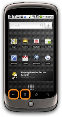 nexus one with options menu and back keys