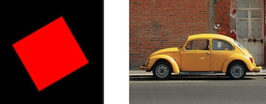 a rotated square and a car in the street