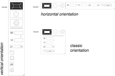 vertical, horizontal and square control layouts