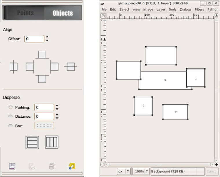 objects mode tool options and the canvas with numbered objects