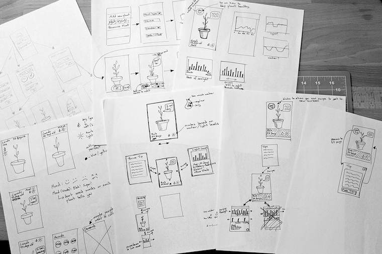 several sheets of paper with interaction sketches