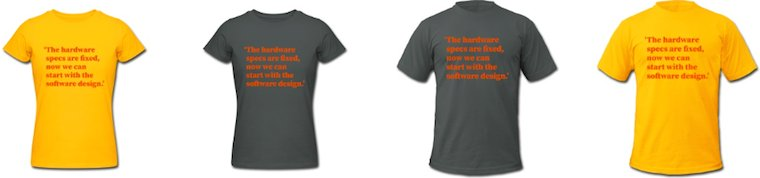 the bright female, dark female, dark male and bright male wishful     thinking shirts