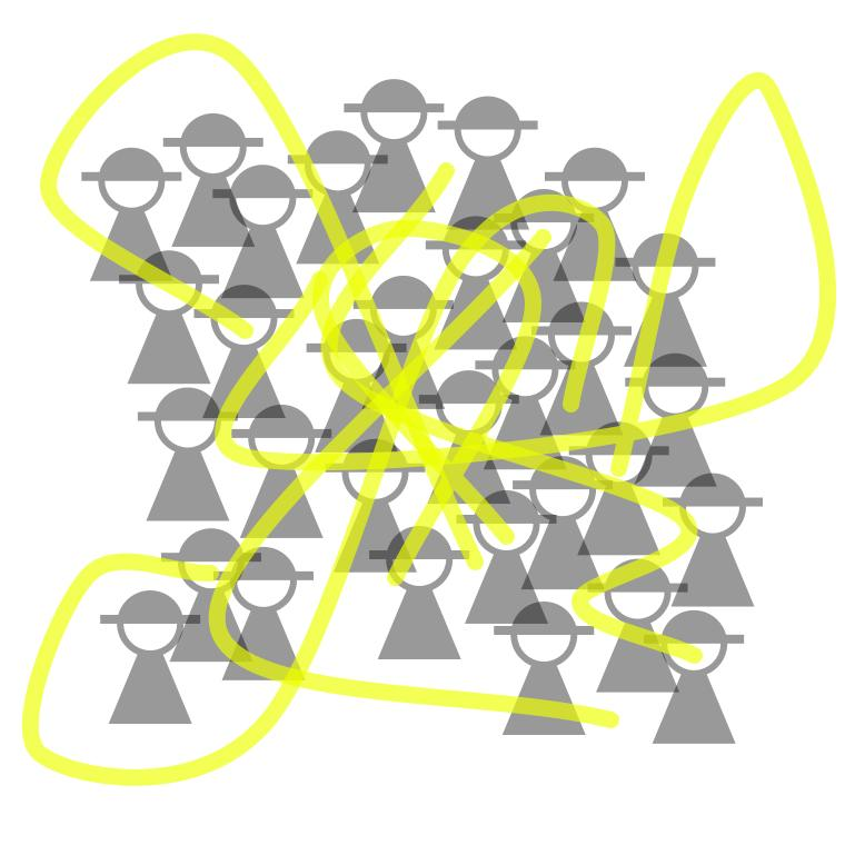 six paths run through the group of people, mostly concentrated in the     middle, some parts fly further out.