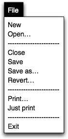 the file menu with just print in it