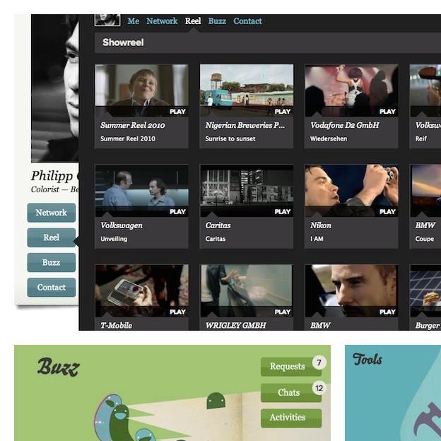 a professional's film gallery overview, impression of the communication 		       and tools sections of the dashboard page