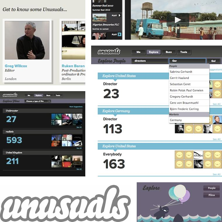 a collage of screenshots of featured user business cards, film 		       playing gallery, professional search filtering results, film filtering 		       results, the unusuals logo and an impression of the explore section of the 		       dashboard page